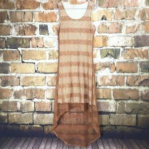 Mystree Orange Net High Low Dress Womens Large
